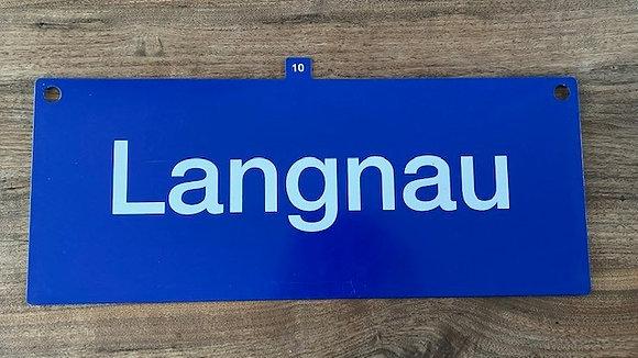 "Original Bahnhofsschild ""Langnau"" + ""Luzern"" - Einzelstück - inkl. Versand"