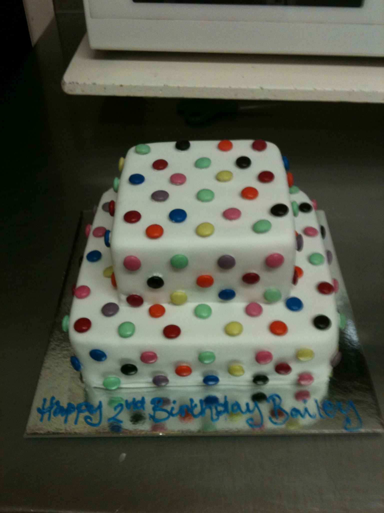Two tier smartie cake.