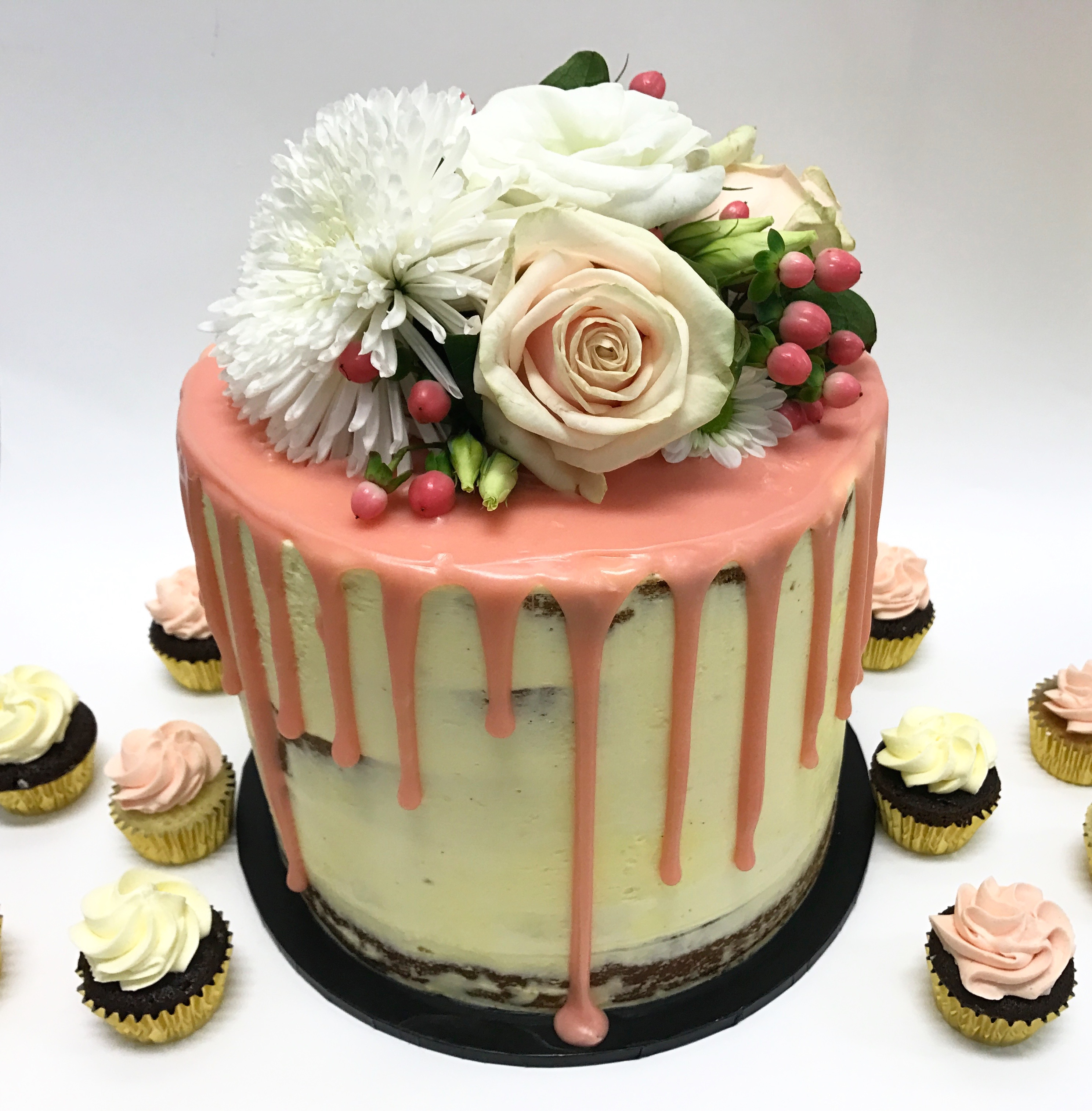 Pink drip with fresh flowers