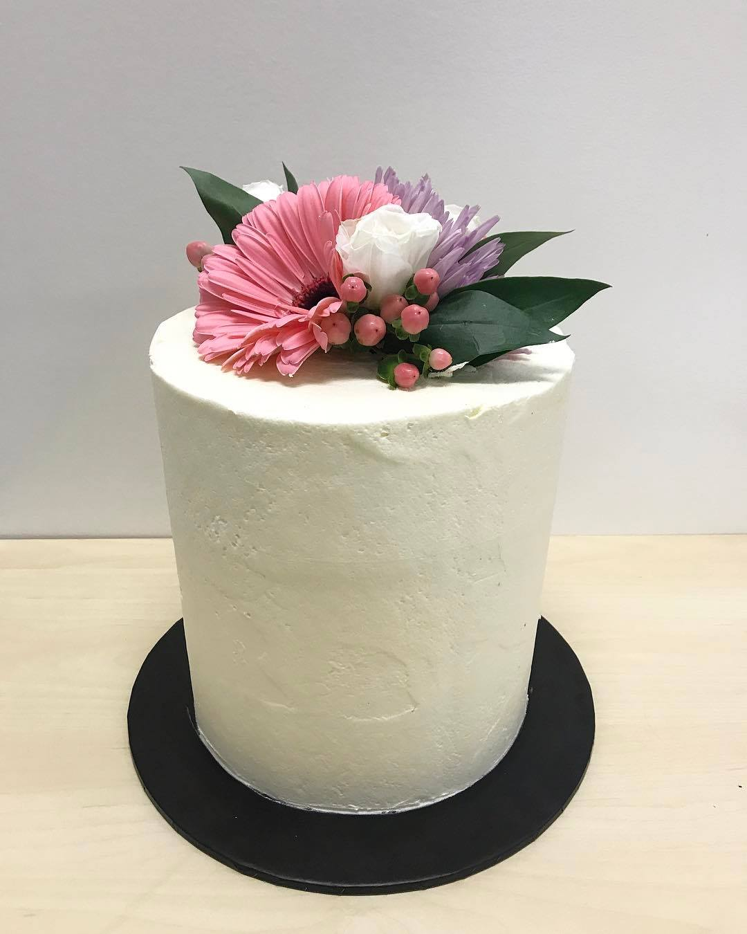 simple white with fresh flowers