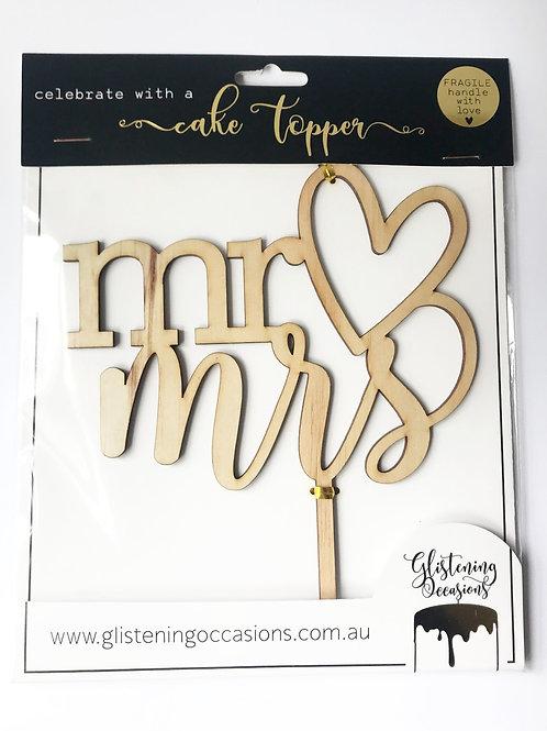 Mr heart Mrs cake topper