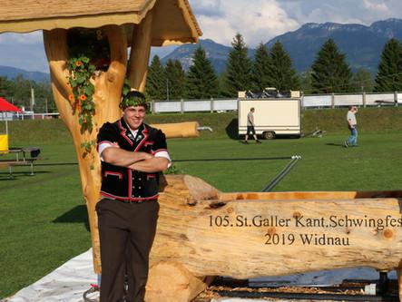 St. Galler Kantonal Schwingfest Widnau – Wey's 2. Saisonkranz, auch Junioren mit Zweigen