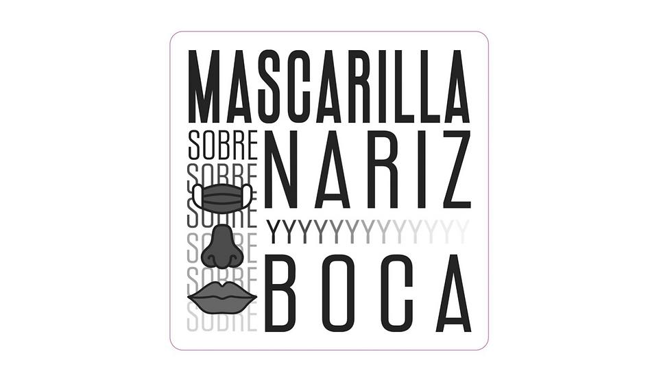 Sticker en Vinyl - Mascarilla Sobre Nariz y Boca