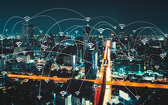 Wifi icon and city scape and network con