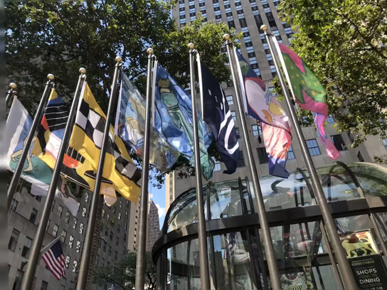 Video of Flags Waving at Rockefeller Center