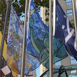 Eddie Bruckner's Flag Waving in Rockefeller Center