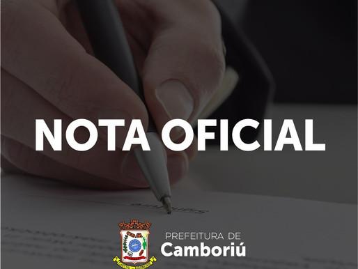 Nota Oficial da Secretaria de Saúde de Camboriú; caso enfermeira afastada por fingir vacinar idosa