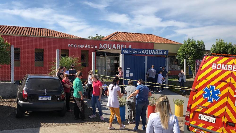 Atentato em escola de Saudades, no Oeste de Santa Catarina / Foto: Imprensa do Povo