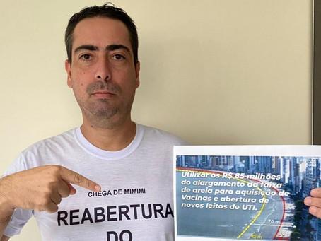 Vereador indica a prefeito que utilize os 85 milhões do alargamento da praia no combate à covid-19