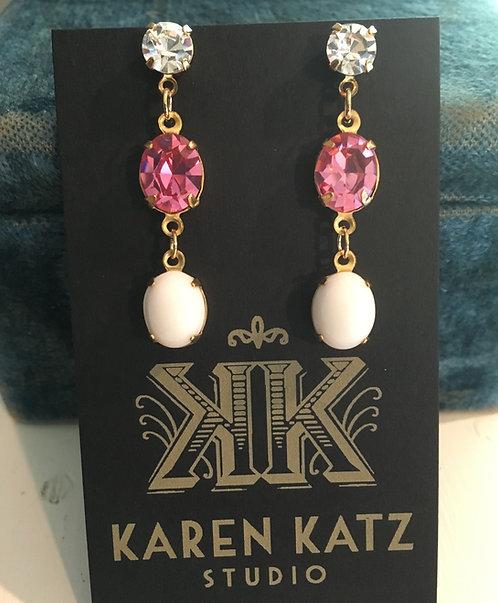 earrings, triple tier, crystal, vintage pink crystal, vintage white milk glass