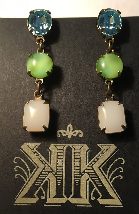 earrings, triple tier, vintage crystal, vintage glass, blue, lime, opal