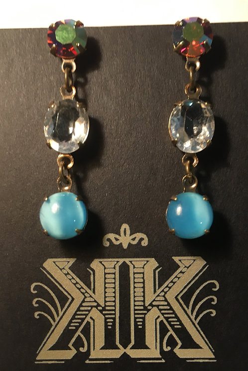 earrings, triple tier, vintage glass, crystal, aurora borealis, clear crystal, sky blue