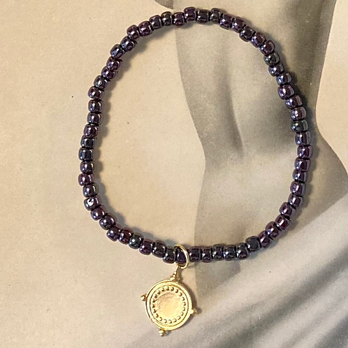 Silvery Purple Love Bead Bracelet with Medallion Charm