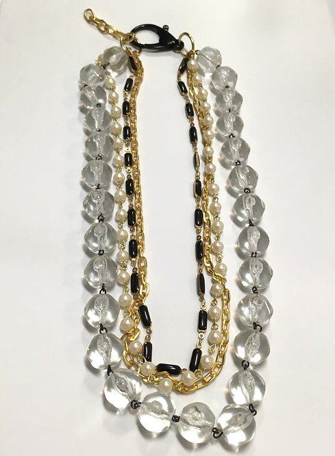 multistrand necklace, vintage clear glass chain, black enamel chain, faux pearls, gold plated chain