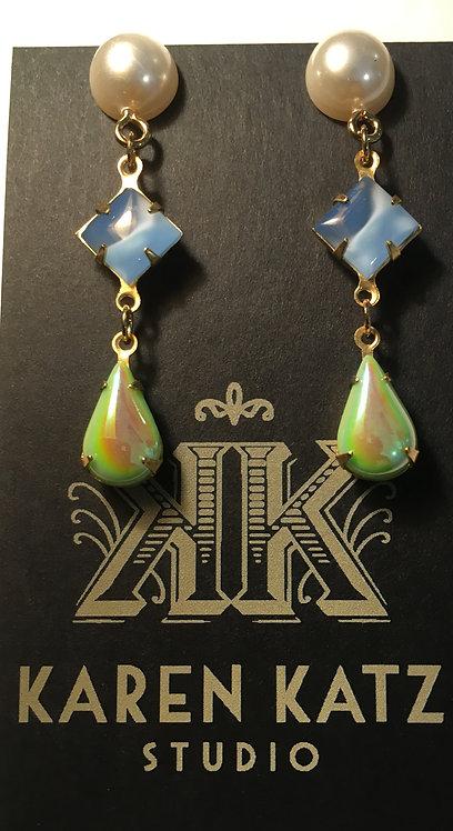 earrings, triple tier, faux pearl, vintage light blue glass, lime green drop
