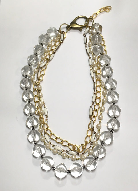 multi-strand necklace, clear vintage glass, white enamel chain, faux pearl chain, gold plated chain