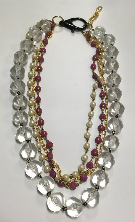 multistrand necklace, vintage glass chain, enamel chain, gold plated chain, faux pearl chain