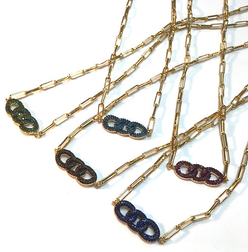 group of gold chain necklaces with assorted color pave crystal links