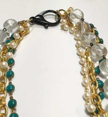multistrand necklace, turquoise enamel, faux pearl, gold plate chain, vintage glass chain