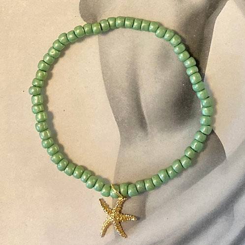 Soft Green Love Bead Bracelet with Starfish Charm
