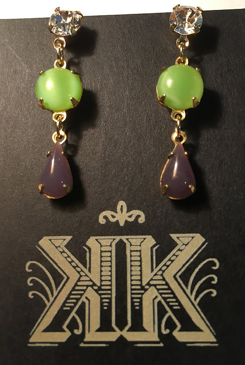 earrings, triple tier, clear crystal post, round givre light green vintage glass, opaque lilac vintage glass drop