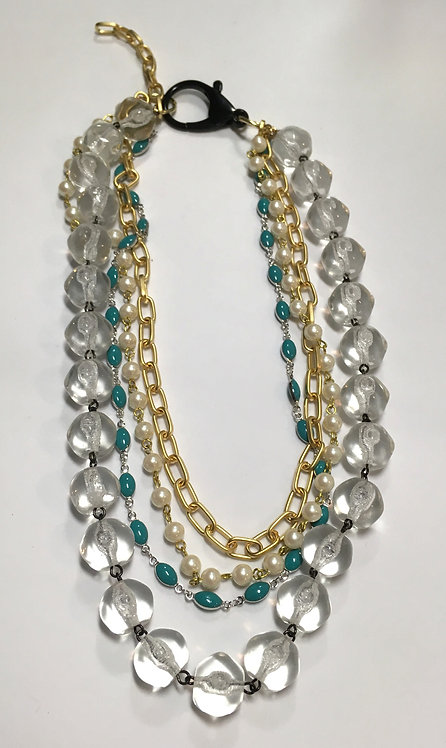 multistrand necklace, vintage glass, enamel chain, faux pearl chain, gold chain