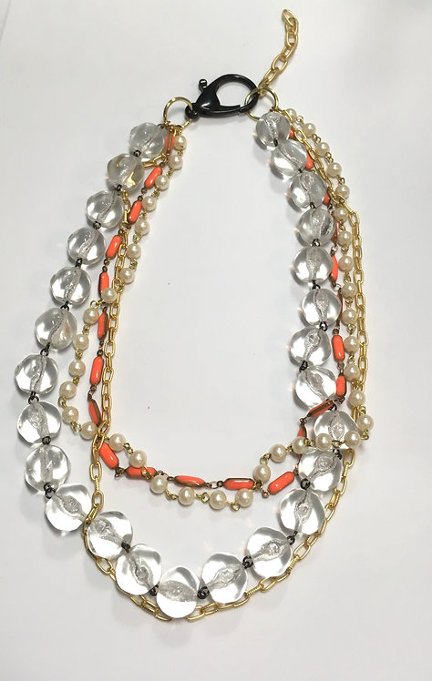 multistrand necklace, vintage glass chain, orange enamel chain, faux pearls, matte gold plated chain