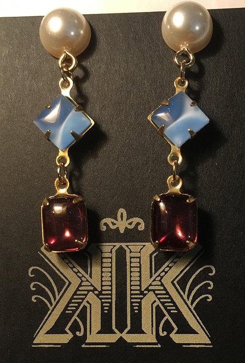 Earrings, triple tier, vintage glass, brass, faux pearl, light blue, amethyst glass