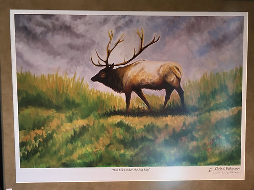 "Bull Elk Under Big Sky, Fine Art Print Chris ""C. J."" Falkavage"