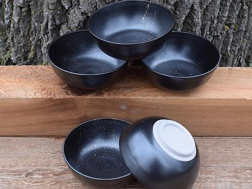 Matte Black Stoneware Bowl with 22K Gold Splash by Emily Kiewel