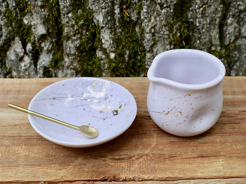 Small Dish and Pitcher in Pink and Gold by Emily Kiewel