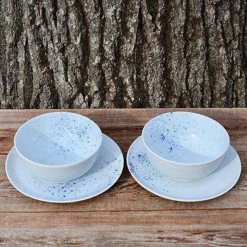 Porcelain Plate with Blue Splash by Emily Kiewel