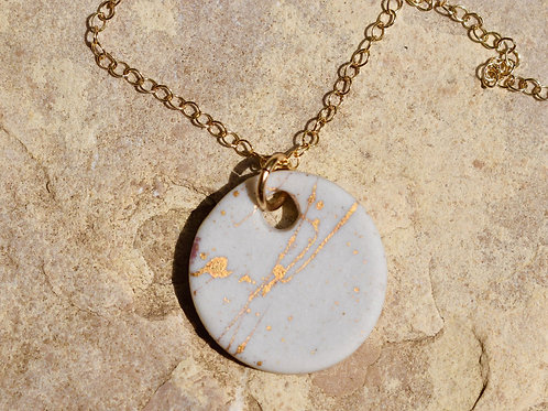 White Porcelain with 22K Gold Necklace by Emily Kiewel