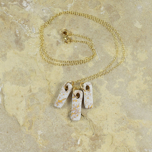 White Porcelain Bar Necklace with 22K Gold by Emily Kiewel