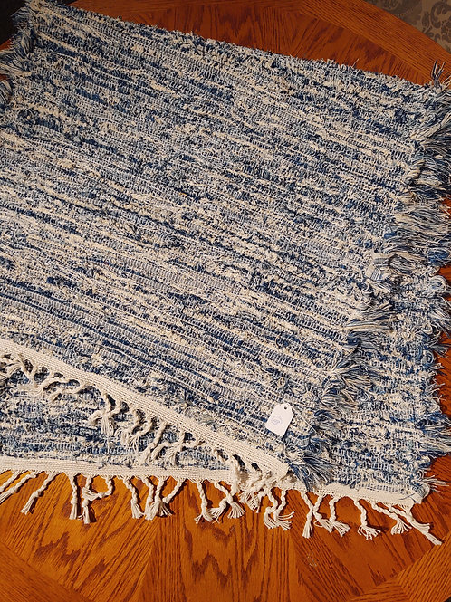 Blue and Cream Shag Rug