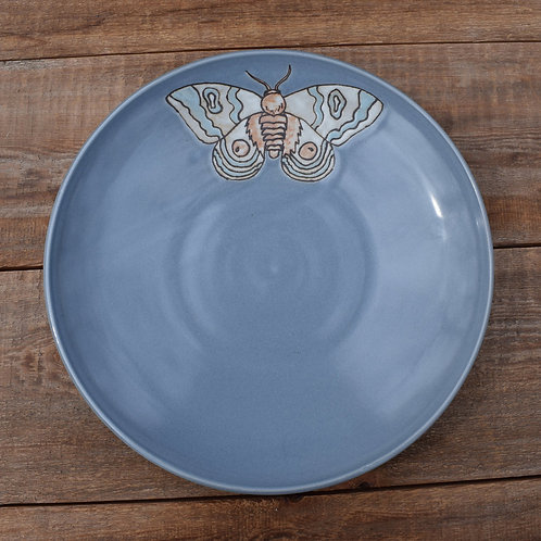 Gray Serving Bowl with Moth by Emily Kiewel