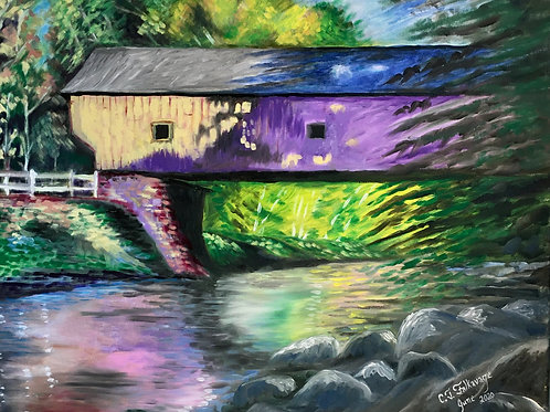 """Saturday Afternoon at the Covered Bridge by Chris """"C. J."""" Falkavage"""