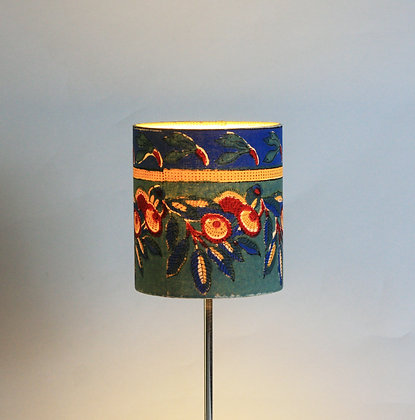 Green and blue block print   drum lampshade