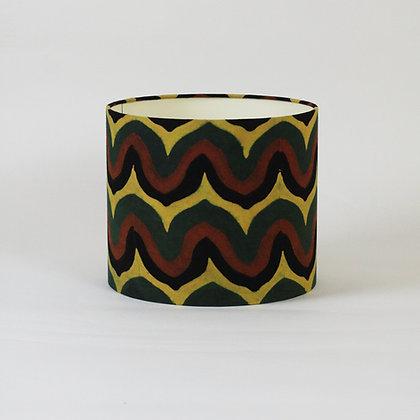 Indian Block Printed Zigzags   drum lampshade