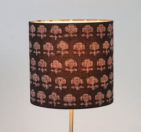 Indian Block Printed Flowers on Grey | drum lampshade