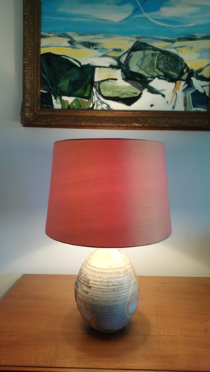 This commission was for a silk dupion shade to match the stunning lampbase, by Harriet Coleridge.
