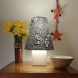 Small cone shade in an indigo dyed block print fabric from Japan.