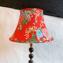Handstitched vintage kimono lampshade with pink silk lining