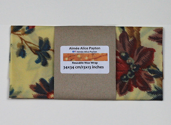 Chiné big red flowers | beeswax food wraps
