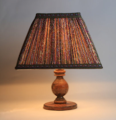 Gathered Indian Silk   Handstitched lampshade