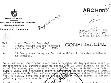 Planes de agresión a Cuba en 1961. Documento desclasificado en 2001.