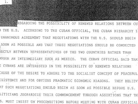 La CIA afirma que Cuba quiere negociar con USA. Documento desclasificado en 2017.
