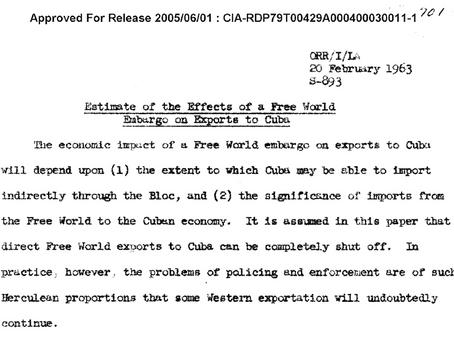 Los efectos del embargo hacia Cuba. Documento desclasificado en 2005