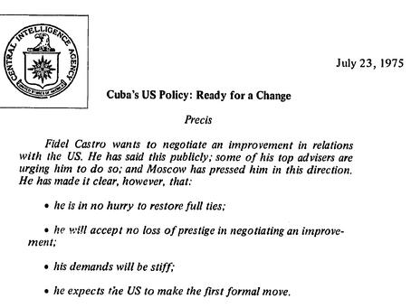 Fidel cede ante la URSS y abre canales con USA. Documento desclasificado en el 2001.