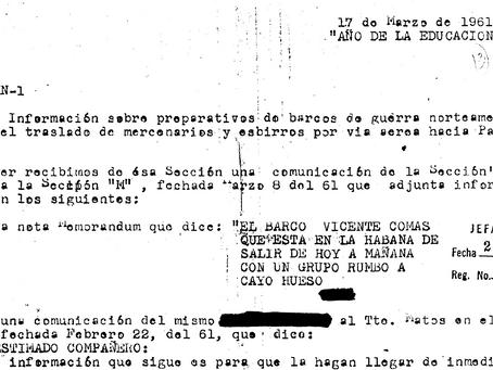 Preparativos para Bahía de Cochinos. Documento desclasificado en 2001.